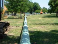 HDD steel pipelines on ground surface. Directional drilling services, Oklahoma.